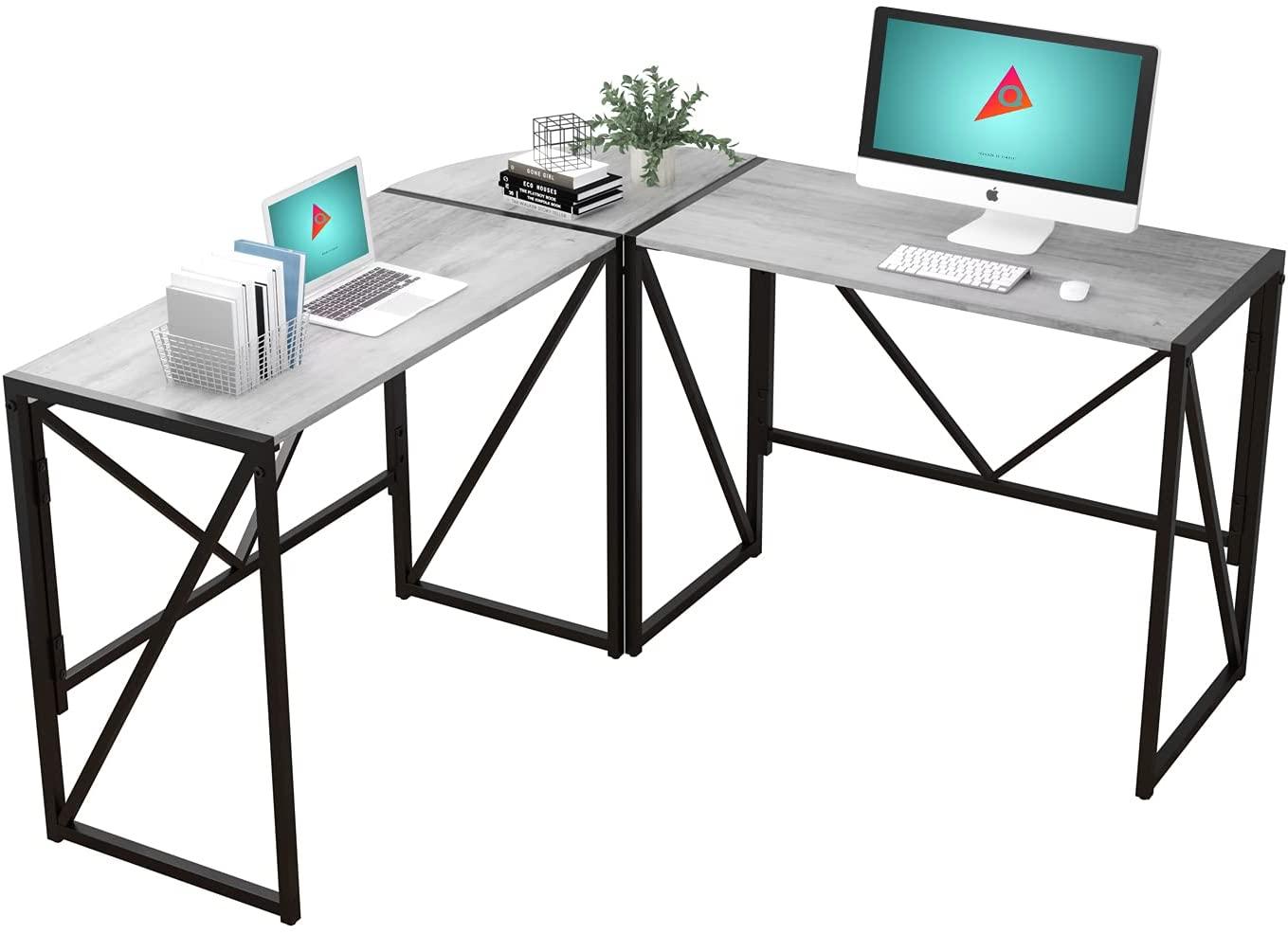 QEEIG Foldable Grey L-shaped Gaming Desk