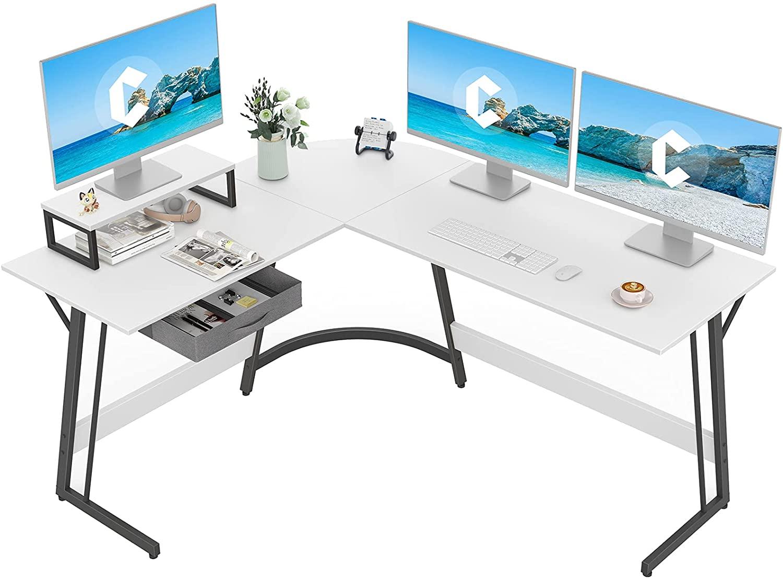 CubiCubi White L-shaped Gaming Desk