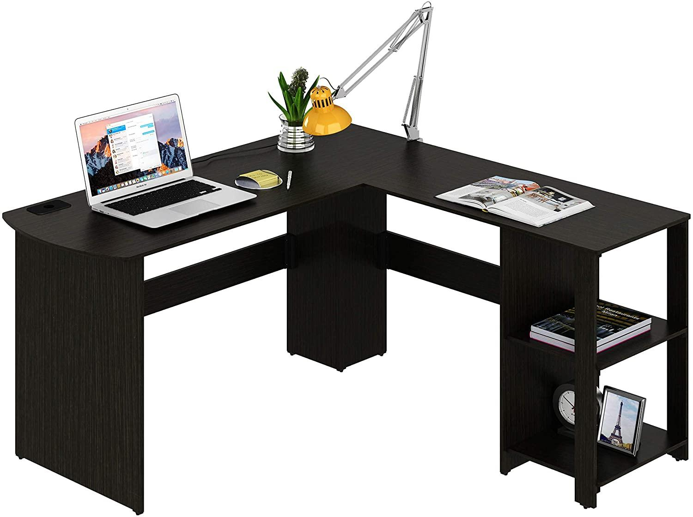 SHW Dark Wood l Shaped Corner Desk